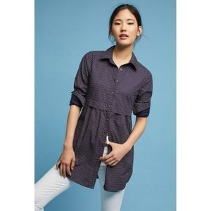 Anthropologie Maeve Aled Dot Button Down Tunic Top